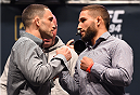 LAS VEGAS, NV - DECEMBER 09:  (L-R) Opponents Frankie Edgar and Chad Mendes face off during the UFC Press Conference inside MGM Grand Garden Arena on December 9, 2015 in Las Vegas, Nevada.  (Photo by Josh Hedges/Zuffa LLC/Zuffa LLC via Getty Images)