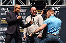 LAS VEGAS, NV - DECEMBER 09:  (L-R) Opponents Jose Aldo of Brazil and Conor McGregor of Ireland face off during the UFC Press Conference inside MGM Grand Garden Arena on December 9, 2015 in Las Vegas, Nevada.  (Photo by Josh Hedges/Zuffa LLC/Zuffa LLC via Getty Images)