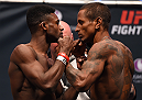 LAS VEGAS, NV - DECEMBER 09:  (L-R) Opponents Aljamain Sterling and Johnny Eduardo of Brazil face off during the UFC Fight Night weigh-in inside MGM Grand Garden Arena on December 9, 2015 in Las Vegas, Nevada.  (Photo by Josh Hedges/Zuffa LLC/Zuffa LLC via Getty Images)