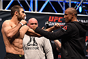 LAS VEGAS, NV - DECEMBER 09:  (L-R) Opponents Omari Akhmedov of Russia and Sergio Moraes of Brazil face off during the UFC Fight Night weigh-in inside MGM Grand Garden Arena on December 9, 2015 in Las Vegas, Nevada.  (Photo by Josh Hedges/Zuffa LLC/Zuffa LLC via Getty Images)