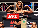 LAS VEGAS, NV - DECEMBER 09:  Paige VanZant weighs in during the UFC Fight Night weigh-in inside MGM Grand Garden Arena on December 9, 2015 in Las Vegas, Nevada.  (Photo by Josh Hedges/Zuffa LLC/Zuffa LLC via Getty Images)