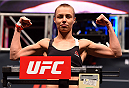 LAS VEGAS, NV - DECEMBER 09:  Rose Namajunas weighs in during the UFC Fight Night weigh-in inside MGM Grand Garden Arena on December 9, 2015 in Las Vegas, Nevada.  (Photo by Josh Hedges/Zuffa LLC/Zuffa LLC via Getty Images)