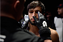 LAS VEGAS, NEVADA - DECEMBER 10:  Zubaira Tukhugov prepares for his fight against Phillipe Nover in their featherweight bout during the UFC Fight Night event at The Chelsea at the Cosmopolitan of Las Vegas on December 10, 2015 in Las Vegas, Nevada.  (Photo by \2069105\/Zuffa LLC/Zuffa LLC via Getty Images)