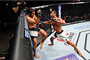 LAS VEGAS, NEVADA - DECEMBER 10:  (R) Thiago Santos punches Elias Theodorou in their middleweight bout during the UFC Fight Night event at The Chelsea at the Cosmopolitan of Las Vegas on December 10, 2015 in Las Vegas, Nevada.  (Photo by Jeff Bottari/Zuffa LLC/Zuffa LLC via Getty Images)