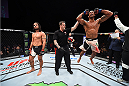 LAS VEGAS, NEVADA - DECEMBER 10:  (R) Thiago Santos celebrates his win over Elias Theodorou in their middleweight bout during the UFC Fight Night event at The Chelsea at the Cosmopolitan of Las Vegas on December 10, 2015 in Las Vegas, Nevada.  (Photo by Jeff Bottari/Zuffa LLC/Zuffa LLC via Getty Images)