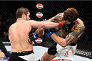 LAS VEGAS, NEVADA - DECEMBER 10:  (L) Jim Miller punches Michael Chiesa in their lightweight bout during the UFC Fight Night event at The Chelsea at the Cosmopolitan of Las Vegas on December 10, 2015 in Las Vegas, Nevada.  (Photo by Jeff Bottari/Zuffa LLC/Zuffa LLC via Getty Images)