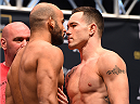 LAS VEGAS, NV - DECEMBER 11:   (L-R) Opponents Warlley Alves of Brazil and Colby Covington face off during the UFC 194 weigh-in inside MGM Grand Garden Arena on December 10, 2015 in Las Vegas, Nevada.  (Photo by Josh Hedges/Zuffa LLC/Zuffa LLC via Getty Images)