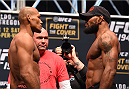 LAS VEGAS, NV - DECEMBER 11:   (L-R) Opponents Ronaldo 'Jacare' Souza of Brazil and Yoel Romero of Cuba face off during the UFC 194 weigh-in inside MGM Grand Garden Arena on December 10, 2015 in Las Vegas, Nevada.  (Photo by Josh Hedges/Zuffa LLC/Zuffa LLC via Getty Images)