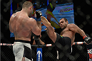 LAS VEGAS, NV - DECEMBER 11: (R-L) Gabriel Gonzaga kicks Konstantin Erokhin in their heavyweight bout during the TUF Finale event inside The Chelsea at The Cosmopolitan of Las Vegas on December 11, 2015 in Las Vegas, Nevada.  (Photo by Brandon Magnus/Zuffa LLC/Zuffa LLC via Getty Images) *** Local Caption *** Gabriel Gonzaga; Konstantin Erokhin