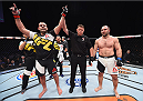 LAS VEGAS, NV - DECEMBER 11: Gabriel Gonzaga (left) is declared the winner against Konstantin Erokhin (right) in their heavyweight bout during the TUF Finale event inside The Chelsea at The Cosmopolitan of Las Vegas on December 11, 2015 in Las Vegas, Nevada.  (Photo by Jeff Bottari/Zuffa LLC/Zuffa LLC via Getty Images) *** Local Caption *** Gabriel Gonzaga; Konstantin Erokhin