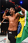 LAS VEGAS, NV - DECEMBER 12:  Leonardo Santos of Brazil reacts to his victory over Kevin Lee in their lightweight bout during the UFC 194 event inside MGM Grand Garden Arena on December 12, 2015 in Las Vegas, Nevada.  (Photo by Josh Hedges/Zuffa LLC/Zuffa LLC via Getty Images) *** Local Caption *** Leonardo Santos