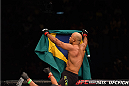 LAS VEGAS, NV - DECEMBER 12:  Warlley Alves of Brazil reacts to his victory over Colby Covington in their welterweight bout during the UFC 194 event inside MGM Grand Garden Arena on December 12, 2015 in Las Vegas, Nevada.  (Photo by Josh Hedges/Zuffa LLC/Zuffa LLC via Getty Images) *** Local Caption *** Warlley Alves