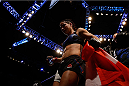 LAS VEGAS, NV - DECEMBER 12: Tecia Torres leaves the Octagon after defeating Jocelyn Jones-Lybarger in their women's strawweight bout during the UFC 194 event inside MGM Grand Garden Arena on December 12, 2015 in Las Vegas, Nevada.  (Photo by Christian Petersen/Zuffa LLC/Zuffa LLC via Getty Images) *** Local Caption *** Tecia Torres