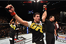 LAS VEGAS, NV - DECEMBER 12:  Demian Maia of Brazil reacts to his victory over Gunnar Nelson of Iceland in their welterweight bout during the UFC 194 event inside MGM Grand Garden Arena on December 12, 2015 in Las Vegas, Nevada.  (Photo by Josh Hedges/Zuffa LLC/Zuffa LLC via Getty Images) *** Local Caption *** Demian Maia