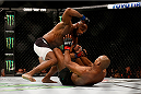 LAS VEGAS, NV - DECEMBER 12: Yoel Romero of Cuba (top) punches Ronaldo 'Jacare' Souza of Brazil in their middleweight bout during the UFC 194 event inside MGM Grand Garden Arena on December 12, 2015 in Las Vegas, Nevada.  (Photo by Christian Petersen/Zuffa LLC/Zuffa LLC via Getty Images) *** Local Caption *** Ronaldo Souza; Yoel Romero