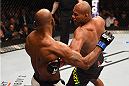 LAS VEGAS, NV - DECEMBER 12: (R-L) Ronaldo 'Jacare' Souza of Brazil punches Yoel Romero of Cuba in their middleweight bout during the UFC 194 event inside MGM Grand Garden Arena on December 12, 2015 in Las Vegas, Nevada.  (Photo by Josh Hedges/Zuffa LLC/Zuffa LLC via Getty Images) *** Local Caption *** Ronaldo Souza; Yoel Romero