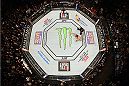 LAS VEGAS, NV - DECEMBER 12: An overhead view of the Octagon as Conor McGregor of Ireland reacts to his victory over Jose Aldo of Brazil during the UFC 194 event inside MGM Grand Garden Arena on December 12, 2015 in Las Vegas, Nevada.  (Photo by Zuffa LLC/Zuffa LLC via Getty Images) *** Local Caption *** Conor McGregor
