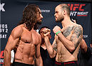 ORLANDO, FL - DECEMBER 18:   (L-R) Opponents Josh Samman and Tamdan McCrory face off during the UFC weigh-in at the Orange County Convention Center on December 18, 2015 in Orlando, Florida. (Photo by Josh Hedges/Zuffa LLC/Zuffa LLC via Getty Images)