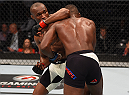 ORLANDO, FL - DECEMBER 19:   (L-R) Kamaru Usman elbows Leon Edwards in their welterweight bout during the UFC Fight Night event at the Amway Center on December 19, 2015 in Orlando, Florida. (Photo by Josh Hedges/Zuffa LLC/Zuffa LLC via Getty Images)