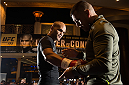 LAS VEGAS, NEVADA - DECEMBER 30:   UFC welterweight champion Robbie Lawler holds an open training session for fans and media at the MGM Grand Hotel/Casino on December 30, 2015 in Las Vegas Nevada. (Photo by Brandon Magnus/Zuffa LLC/Zuffa LLC via Getty Images)
