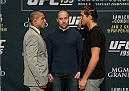 LAS VEGAS, NEVADA - DECEMBER 31:  (L-R) Diego Brandao and Brian Ortega face off during the Ultimate Media Day at the MGM Grand Hotel/Casino on December 31, 2015 in Las Vegas Nevada. (Photo by Brandon Magnus/Zuffa LLC/Zuffa LLC via Getty Images)