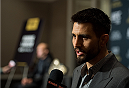 LAS VEGAS, NEVADA - DECEMBER 31:  (R-L) Carlos Condit and UFC welterweight champion Robbie Lawler speak to the media during the Ultimate Media Day at the MGM Grand Hotel/Casino on December 31, 2015 in Las Vegas Nevada. (Photo by Brandon Magnus/Zuffa LLC/Zuffa LLC via Getty Images)