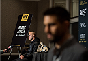 LAS VEGAS, NEVADA - DECEMBER 31:  (L-R) UFC welterweight champion Robbie Lawler and Carlos Condit speak to the media during the Ultimate Media Day at the MGM Grand Hotel/Casino on December 31, 2015 in Las Vegas Nevada. (Photo by Brandon Magnus/Zuffa LLC/Zuffa LLC via Getty Images)