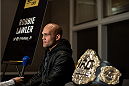 LAS VEGAS, NEVADA - DECEMBER 31:  UFC welterweight champion Robbie Lawler speaks to the media during the Ultimate Media Day at the MGM Grand Hotel/Casino on December 31, 2015 in Las Vegas Nevada. (Photo by Brandon Magnus/Zuffa LLC/Zuffa LLC via Getty Images)