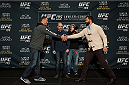 LAS VEGAS, NEVADA - DECEMBER 31:  (L-R) Stipe Miocic and Andrei Arlovski face off during the Ultimate Media Day at the MGM Grand Hotel/Casino on December 31, 2015 in Las Vegas Nevada. (Photo by Brandon Magnus/Zuffa LLC/Zuffa LLC via Getty Images)