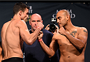 LAS VEGAS, NV - JANUARY 01:   (L-R) Opponents Sheldon Westcott of Canada and Edgar Garcia of Mexico face off during the UFC 195 weigh-in at the MGM Grand Conference Center on January 1, 2016 in Las Vegas, Nevada. (Photo by Josh Hedges/Zuffa LLC/Zuffa LLC via Getty Images)