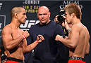 LAS VEGAS, NV - JANUARY 01:   (L-R) Opponents Joe Soto and Michinori Tanaka of Japan face off during the UFC 195 weigh-in at the MGM Grand Conference Center on January 1, 2016 in Las Vegas, Nevada. (Photo by Josh Hedges/Zuffa LLC/Zuffa LLC via Getty Images)