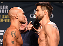 LAS VEGAS, NV - JANUARY 01:   (L-R) UFC welterweight champion Robbie Lawler and opponent Carlos Condit face off during the UFC 195 weigh-in at the MGM Grand Conference Center on January 1, 2016 in Las Vegas, Nevada. (Photo by Josh Hedges/Zuffa LLC/Zuffa LLC via Getty Images)