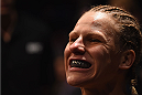 LAS VEGAS, NV - JANUARY 02: Justine Kish prepares to enter the Octagon to face Nina Ansaroff in their women's strawweight bout during the UFC 195 event inside MGM Grand Garden Arena on January 2, 2016 in Las Vegas, Nevada.  (Photo by Josh Hedges/Zuffa LLC/Zuffa LLC via Getty Images)