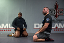 SAN JOSE, CA - JANUARY 05:  (R-L) Cain Velasquez works out  with light heavyweight champion Daniel Cormier during a media day at American Kickboxing Academy on January 5, 2016 in San Jose, California.  (Photo by Brandon Magnus/Zuffa LLC/Zuffa LLC via Getty Images)