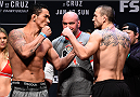 BOSTON, MA - JANUARY 16:  (L-R) Opponents Francimar Barroso of Brazil and Elvis Mutapcic of Bosnia face off during the UFC weigh-in at the Wang Theatre on January 16, 2016 in Boston, Massachusetts. (Photo by Jeff Bottari/Zuffa LLC/Zuffa LLC via Getty Images)