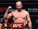 BOSTON, MA - JANUARY 16:  Tim Boetsch weighs in during the UFC weigh-in at the Wang Theatre on January 16, 2016 in Boston, Massachusetts. (Photo by Jeff Bottari/Zuffa LLC/Zuffa LLC via Getty Images)