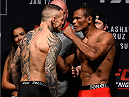 BOSTON, MA - JANUARY 16:  (L-R) Opponents Ross Pearson of England and Francisco Trinaldo of Brazil face off during the UFC weigh-in at the Wang Theatre on January 16, 2016 in Boston, Massachusetts. (Photo by Jeff Bottari/Zuffa LLC/Zuffa LLC via Getty Images)