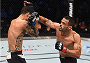 BOSTON, MA - JANUARY 17:  (R-L) Rob Font punches Joey Gomez in their bantamweight bout during the UFC Fight Night event inside TD Garden on January 17, 2016 in Boston, Massachusetts. (Photo by Jeff Bottari/Zuffa LLC/Zuffa LLC via Getty Images)