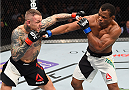 BOSTON, MA - JANUARY 17:  (L-R) Ross Pearson of England punches Francisco Trinaldo of Brazil in their lightweight bout during the UFC Fight Night event inside TD Garden on January 17, 2016 in Boston, Massachusetts. (Photo by Jeff Bottari/Zuffa LLC/Zuffa LLC via Getty Images)