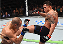 BOSTON, MA - JANUARY 17:  (R-L) Anthony Pettis kicks Eddie Alvarez in their lightweight bout during the UFC Fight Night event inside TD Garden on January 17, 2016 in Boston, Massachusetts. (Photo by Jeff Bottari/Zuffa LLC/Zuffa LLC via Getty Images)