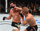 BOSTON, MA - JANUARY 17:  (R-L) TJ Dillashaw punches Dominick Cruz in their UFC bantamweight championship bout during the UFC Fight Night event inside TD Garden on January 17, 2016 in Boston, Massachusetts. (Photo by Jeff Bottari/Zuffa LLC/Zuffa LLC via Getty Images)