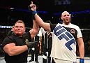 NEWARK, NJ - JANUARY 30:  Ben Rothwell celebrates his submission victory over Josh Barnett in their heavyweight bout during the UFC Fight Night event at the Prudential Center on January 30, 2016 in Newark, New Jersey. (Photo by Josh Hedges/Zuffa LLC/Zuffa LLC via Getty Images)