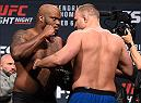 LAS VEGAS, NV - FEBRUARY 05:  (L-R) Opponents Derrick Lewis and Damian Grabowski of Poland face off during the UFC Fight Night weigh-in at the MGM Grand Conference Center on February 5, 2016 in Las Vegas, Nevada. (Photo by Josh Hedges/Zuffa LLC/Zuffa LLC via Getty Images)