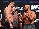 LAS VEGAS, NV - MARCH 04:  (L-R) Opponents Gian Villante and Ilir Latifi of Sweden face off during the UFC 196 Weigh-in at the MGM Grand Garden Arena on March 4, 2016 in Las Vegas, Nevada. (Photo by Josh Hedges/Zuffa LLC/Zuffa LLC via Getty Images)