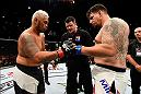 BRISBANE, AUSTRALIA - MARCH 20:  (L-R) Mark Hunt of New Zealand and Frank Mir of the United States touch gloves before their heavyweight bout during the UFC Fight Night event at the Brisbane Entertainment Centre on March 20, 2016 in Brisbane, Australia. (Photo by Josh Hedges/Zuffa LLC/Zuffa LLC via Getty Images)