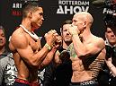 ROTTERDAM, NETHERLANDS - MAY 07:  (L-R) Opponents Jon Tuck and Josh Emmett face off during the UFC weigh-in at Ahoy Rotterdam on May 7, 2016 in Rotterdam, Netherlands. (Photo by Josh Hedges/Zuffa LLC/Zuffa LLC via Getty Images)