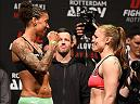 ROTTERDAM, NETHERLANDS - MAY 07:  (L-R) Opponents Germaine de Randamie of The Netherlands and Anna Elmose of Denmark face off during the UFC weigh-in at Ahoy Rotterdam on May 7, 2016 in Rotterdam, Netherlands. (Photo by Josh Hedges/Zuffa LLC/Zuffa LLC via Getty Images)