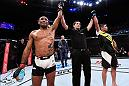 CURITIBA, BRAZIL - MAY 14:  (L-R) The fight between Sergio Moraes of Brazil and Luan Chagas of Brazil is announced a majority draw after their welterweight bout during the UFC 198 event at Arena da Baixada stadium on May 14, 2016 in Curitiba, Parana, Brazil.  (Photo by Josh Hedges/Zuffa LLC/Zuffa LLC via Getty Images)