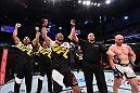 CURITIBA, BRAZIL - MAY 14:  (L-R) Antonio Rogerio Nogueira of Brazil celebrates after defeating Patrick Cummins in their light heavyweight bout during the UFC 198 event at Arena da Baixada stadium on May 14, 2016 in Curitiba, Parana, Brazil.  (Photo by Josh Hedges/Zuffa LLC/Zuffa LLC via Getty Images)