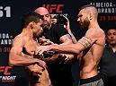 LAS VEGAS, NV - MAY 28:   (L-R) Opponents Renan Barao of Brazil and Jeremy Stephens face off during the UFC Fight Night weigh-in at the Mandalay Bay Events Center on May 28, 2016 in Las Vegas, Nevada. (Photo by Josh Hedges/Zuffa LLC/Zuffa LLC via Getty Images)